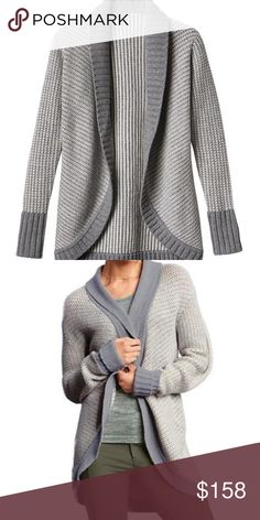 NWOT Athleta Sierra Wrap Cocoon Cardigan The perfect way to wrap up your practice is with this perfectly oversized, chunky-knit sweater that feels cozy and cool all at the same time. INSPIRED FOR: studio To Fro, adventure To Fro Chunky knit, two-tone stitch Ivory/ light gray heather. Semi-fitted.  FABRIC + CARE Wool/Cashmere Midweight, super-soft, donegal tweed marled yarn Super smooth with a slight sheen Imported Hand wash or dry clean. Imported. Athleta Sweaters Cardigans
