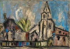Gustavo Boldrini (Italian, 1927-1987), Parigi, Saint-Germain-des-Prés, 1950s. Oil on canvas, 70 x 100 cm