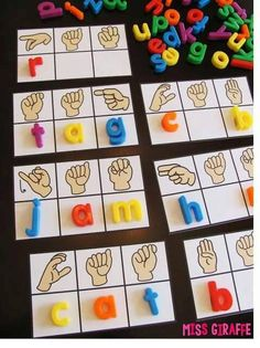 Short A Activities and Resources (including freebies!) - Sign language CVC words cards that are super fun and a ton of other great hands on reading activiti - Sign Language For Kids, Sign Language Phrases, Sign Language Alphabet, Sign Language Interpreter, British Sign Language, Learn Sign Language, Sign Language Games, Sign Language Colors, Short A Activities