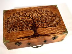 Tree of Life Pyrography Box by DekoMuse on Etsy, $55.00
