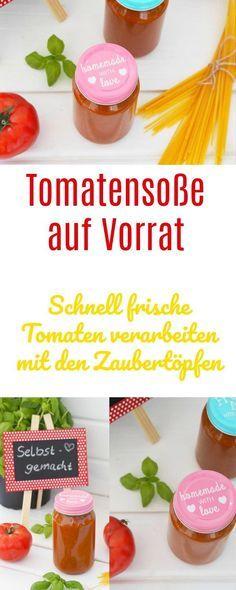 Genau jetzt im Spätsommer haben wir die aromatischsten Tomaten im Garten oder können superleckere Tomaten kaufen und diese für den Winter für Tomatensoße auf Vorrat verarbeiten. In unseren Zaubertöpfen oder im Thermomix superschnell gekocht. Ich und meine Familie liebt diese leckere Tomatensoße.