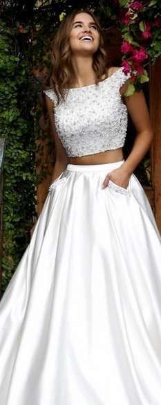 Two-Piece Beaded Gown by Sherri Hill 50088 Xv Dresses, Cute Prom Dresses, Trendy Dresses, Homecoming Dresses, Formal Dresses, Luxury Wedding Dress, White Wedding Dresses, Bridal Dresses, Look Fashion