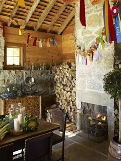 I want a fireplace. But not right in the middle of my living room where it's in the way. I like this in the dining area. Cottage In The Woods, Cozy Cottage, Cottage Homes, Cottage Style, Interior Design Portfolios, Fireplace Wall, Cottage Fireplace, Fireplace Stone, Gambrel