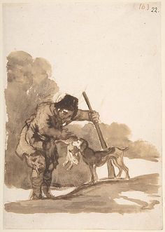*Rabbit Hunter with a Retriever, from Images of Spain Album (F), 103* Goya (Francisco de Goya y Lucientes) (Spanish, Fuendetodos 1746–1828 Bordeaux)