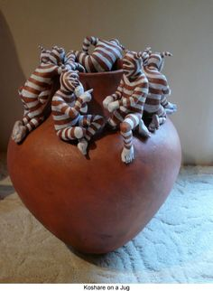Koshare On A Jug - Canku Ota - December 2013 - Speaking With Clay, Mud and (sacred) Clowns: Pueblo Potter Roxanne Swentzell