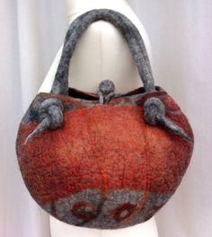 Hand Felted Wool and Silk Organza Bag Light Grey/ by VendaFelt