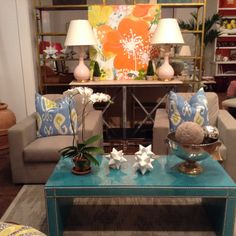 Aqua #leather covered #coffee #table at #EastHampton #Mecox with #ikat #toss #pillows and #Spitzmiller #lamps #interiordesign #Hamptons #MecoxGardens #furniture #shopping #home #decor #design #room #designidea #vintage #antiques #garden