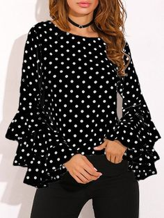 Round Neck Geometric Plain Polka Dot Printed Bell Sleeve blouses for women chic blouses for women casual blouses outfit cute blouses blouses for women work business casual Tops Online Shopping, Shopping Sites, Polka Dot Shirt, Polka Dots, Bell Sleeve Blouse, Casual Tops, Casual Shirt, Mode Style, Look Fashion