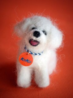 Needle Felted Dog Portrait Sculpture Felted with Dog Hair – Bichon Frise, Koko