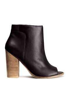 f292dbab4d00 Peep-toe ankle boots in leather with a wood-look heel