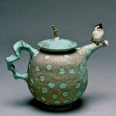 Lucy V. Dierks - Blue Spotted Teapot with Chickadee