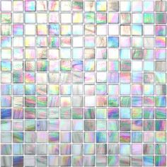 Screenplay Gray- Iridescent Glass Mosaic Tile, Product Code from the Kaleidoscope ColorGlitz Glass Mosaic Tile Series, sold by the s. Sheet, face-mounted on paper. Mosaic Tile Supplies, Glass Mosaic Tiles, Cement Tiles, Wall Tiles, Vitromosaico Ideas, Tile Ideas, Iridescent Tile, Tile Patterns, Tile Design