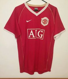 NIKE DRI FIT Mens Size S Small AIG Manchester United Soccer Atheltic Jersey EUC #Nike #Jerseys