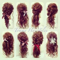 Half up half down Modern Hairstyles, Creative Hairstyles, Wedding Guest Hairstyles, Bride Hairstyles, Hair Up Styles, Hair Fixing, Graduation Hairstyles, Hair Arrange, Hair Setting