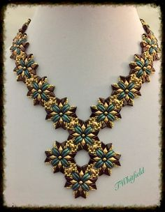 Amazing beaded necklace featuring CzechMates Crescent beads. Made by Artbeader Tracy