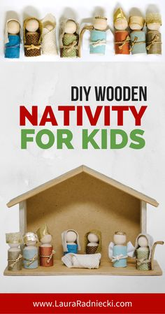 A step by step tutorial on how to make a wooden peg doll nativity set. A simple DIY nativity scene that is perfect for kids, and beautiful for your home too!