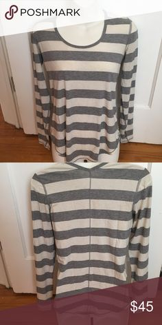 Lululemon long sleeve tee size small Lululemon long sleeve tee. Highly sought after pattern!! Everyone covets the grey and white stripe!!! Super soft and comfy loose fitting scoop neck with thumb holes. Signs of wear. Please see pictures! Tiny bleach spot and some fraying at the wrists. Tiny hole. Still totally wearable and cute! Offers welcome! Size tag is gone but it is either a 2 or 4. Fits like a small. lululemon athletica Tops Tees - Long Sleeve