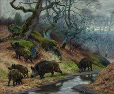 Georges Frédéric Rötig – - Wild boar, gouache, x 26 cm. Wild Boar Hunting, Pig Hunting, Hunting Art, Feral Pig, Sheep Paintings, Duck Art, Fantasy Forest, Mundo Animal, My Spirit Animal