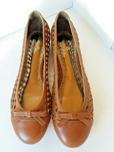 491ef6112a91f Brooks Brothers Women s Sz. 9 New Brown Woven Leather Flats Shoes