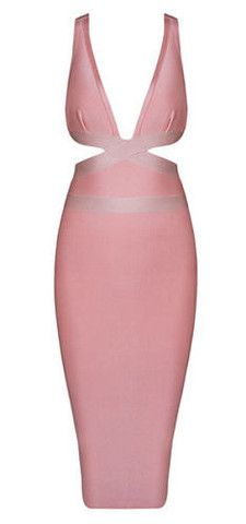 sexy, cutout detail, v-neckline, body-con fit, length below knee, strap, back zipper Material: 90% rayon /9% nylon/ 1% spandex Color - Light Pink Size -X-Small, Small, Medium, Large * Dry clean * Impo