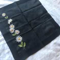 Vintage UNUSED Black Handkerchief PRISTINE Embroidered Pocket | Etsy Cushion Inserts, Cushion Covers, Remembrance Gifts, Vintage Handkerchiefs, Down Feather, Logo Sticker, Vintage Textiles, Pocket Square, Hand Embroidery
