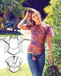 Cap Sleeve Summer Blouse Burda Jul /2015 #104  Pattern $5.99: http://www.burdastyle.com/pattern_store/patterns/cap-sleeve-summer-blouse-072015