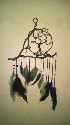 SOLD This holistic dream catcher is handmade by Kate Marie. Dream Catcher Mobile, Dream Catchers, Los Dreamcatchers, Dream Catcher Native American, Gods Eye, Native American Crafts, Wire Trees, Tiger Eye Beads, Feather Crafts