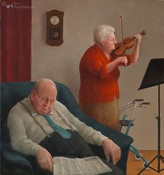 Marius van Dokkum, Dutch Artist and Illustrator People Reading, Growing Old Together, Old Couples, The Golden Years, Dutch Painters, Dutch Artists, Naive Art, Funny Art, Art Music