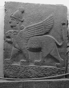 Hittites: Chimera - A winged leonine sphinx monstre with human as well as lion head, Mythological scene, The Herald Wall's reliefs, Carchemish