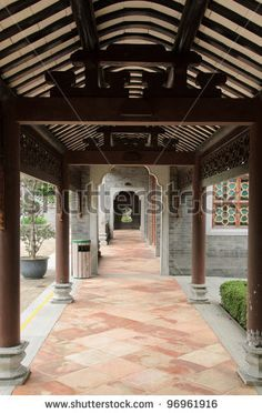 stock photo : Hallway of a traditional Chinese home / house