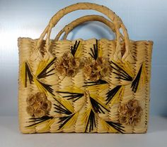 Raffia Straw Tote Purse from Mexico, Vintage 60s 70s, With Floral Design
