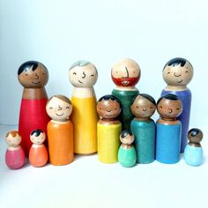 Peg Doll Family Wooden Toys - Bright Rainbow Colours- Doll House - Diverse Family sets - Imaginative Play, Modern Multicultural people Child Doll, Baby Dolls, Modern Kids Decor, Toy People, Green Toys, Family Set, Wooden Pegs, All Toys, Imaginative Play