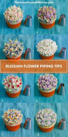 A Chart will show you what flowers will come out for every Russian tips, save this to make beautiful butter cream flowers. #buttercreamflowers