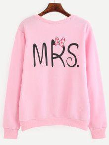 Pink Letter Print Pullover Sweatshirt