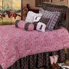Pink Paisley Bedding Collection - Dress up your little cowgirl's bedroom with out beautiful Pink Paisley Bedding Collection. This ensemble is full of fun and style, perfect for any girl's bedroom. The Pink Paisley Bedding Collection features a bold Beautiful Bedding Sets, Best Bedding Sets, Beautiful Bedrooms, Comforter Sets, Cowgirl Theme Bedrooms, Bedroom Themes, Bedroom Decor, Girls Bedroom, Bedroom Ideas