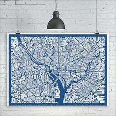 Washington DC Map Print Custom Washington DC by kiacoltd on Etsy