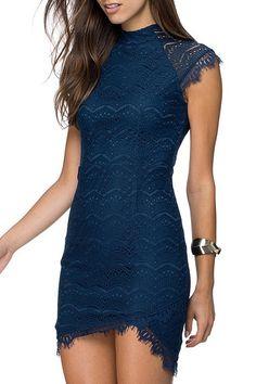 Round Neck Asymmetrical Lace Dress BLUE: Lace Dresses | ZAFUL