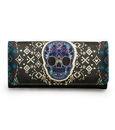 Loungefly Blue Skull Black/Gold Wallet