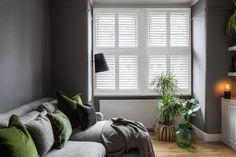 Southfields by Plantation Shutters Ltd Home, Warm Fire, House Styles, Modern Interior, Modern Interior Design, White Shutters, Clean Modern, Home Styles, Room
