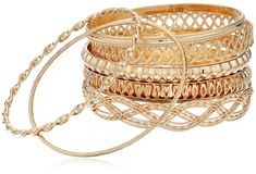 """GUESS """"Basic"""" Gold 7 Piece Mixed Bangle Bracelet. Made in China. Gold Metal. Multi Bangle Set. Set of 7. Imported."""