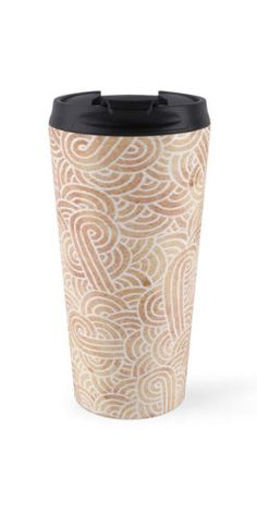 """""""Iced coffee and white zentangles"""" Travel Mug by Savousepate on Redbubble #travelmug #abstract #zentangles #doodles #scrolls #spirals #brown #chocolate #icedcoffee #pantonecolors2016"""
