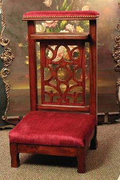 """PRIE DIEU FRENCH PRAYER BENCH replica of a 1800;s version., Hand rubbed hardwood and velvet. Imported 18x34"""""""