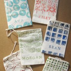 DIY Hand-Stamped Favor Bags. Love the idea of personalizing them for each party-goer!