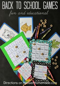 Back to School Games  Fun and educational crafts to help celebrate the return to school   Details on HoosierHomemade.com