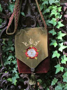 Tudor rose embroidered purse.
