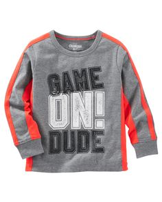 This boys' OshKosh B'gosh active tee features a sporty graphic and pieced side panel stripes for a cool look he'll love. Toddler Boy Outfits, Toddler Boys, Kids Outfits, Kids Boys, Toddler Winter Fashion, Kids Fashion Boy, Resale Clothing, Boy Clothing, Fashion Clothes