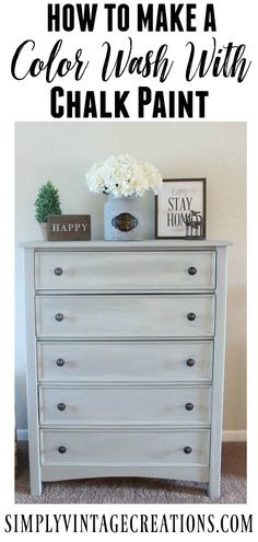 Farmhouse Dresser Makeover - How to make a color wash with chalk paint. Dresser was painted with DIY chalk paint that matches Annie Sloan French Linen and color washed with a half and half mix of Old White and Old Ochre dupes. | 7M Woodworking loves sharing tips for woodworking projects DIY & rustic interior design alongside unique handmade wooden tables, industrial interior design, reclaimed barn beam lightning, and other woodworking projects. Check out www.7mwoodworking.com (312) 545-0331