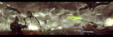 """Sci-Fi vs. Fantasy"" -- Art by ""DanilLovesFood"" on DeviantArt. Artwork Fantasy, Space Fantasy, Sci Fi Fantasy, Fantasy Books, Alien Planet, Fantasy Fiction, Beautiful Forest, Sci Fi Art, Horror Stories"