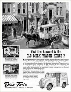 Milk delivery horse drawn wagon and also pics of the milk delivery trucks. Our milkman's company was Twin Pines!