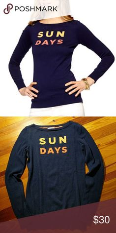 "Lilly Pulitzer Sun Days Sweater Lilly Pulitzer Marielle sweater ""Sun days"" Navy with yellow/orange words. Good condition (hard to get good lighting for the pic) Size XS. Lilly Pulitzer Sweaters Crew & Scoop Necks"
